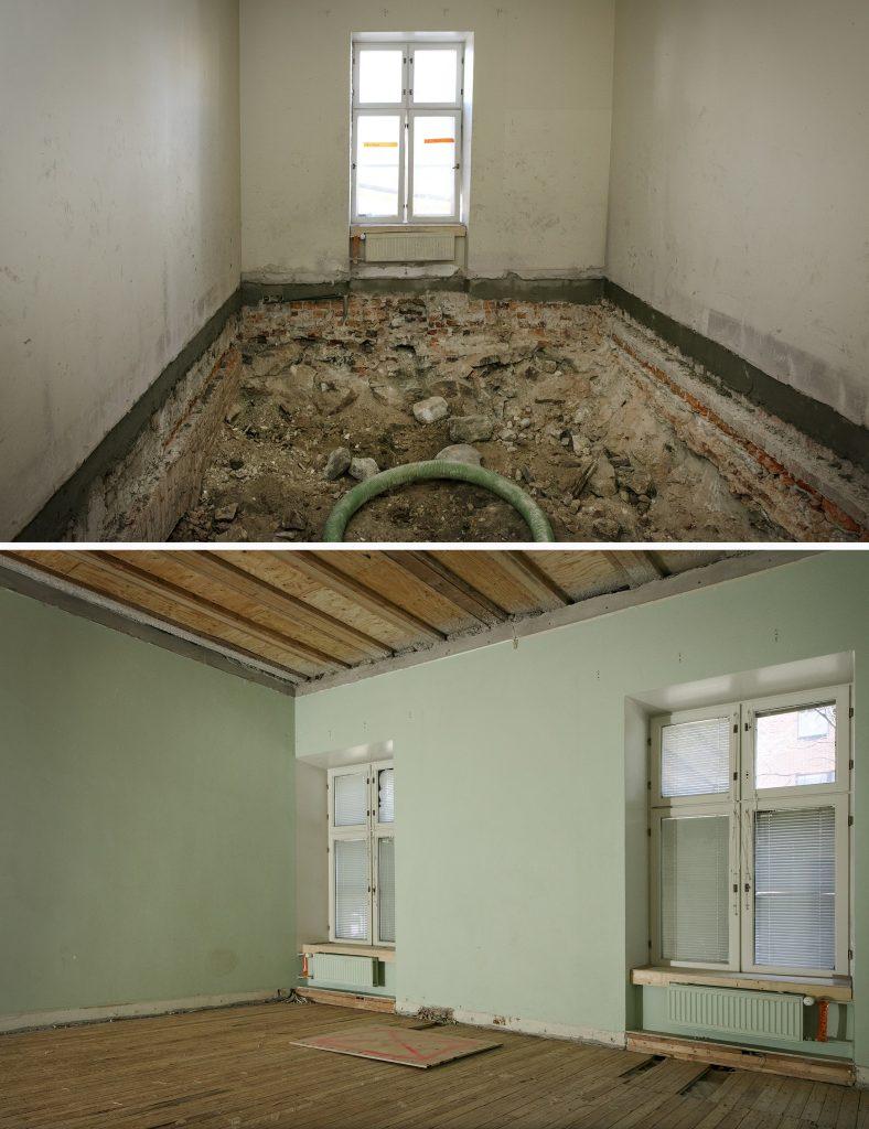 Yläkuva: huone, betoniseinät, ikkuna ja purettu lattia. Alakuva: vihreäseinäinen tyhjä huone, purettua kattoa ja lattiaa.