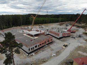 Ilmakuva Hämeenlinnan vankilan rakennustyömaasta