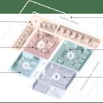 Pohjakuvassa on ehdotus eri tilatyypeistä, joita ovat sisääntulo, odotusalue, palvelupisteet, digialue ja kokouskeskus.