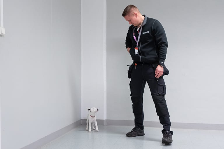 Ville Heikkinen ja Selma koira.
