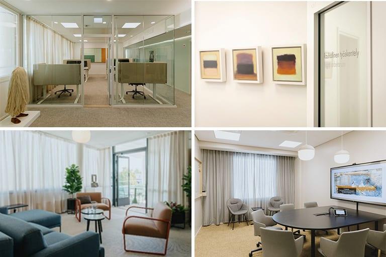 Porvoon Veron ja MML:n toimitilojen sisustusta. Tauluja seinillä, sohvia ja työtuoleja.