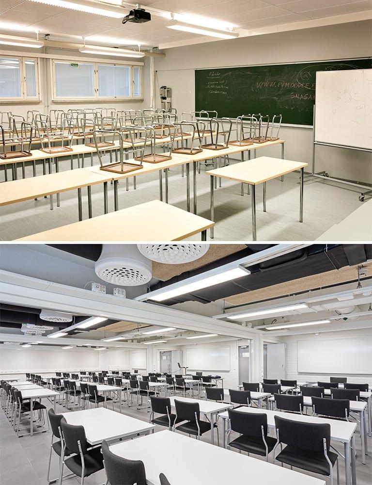Ennen ja jälkeen kuvat Upinniemen luokkatilasta