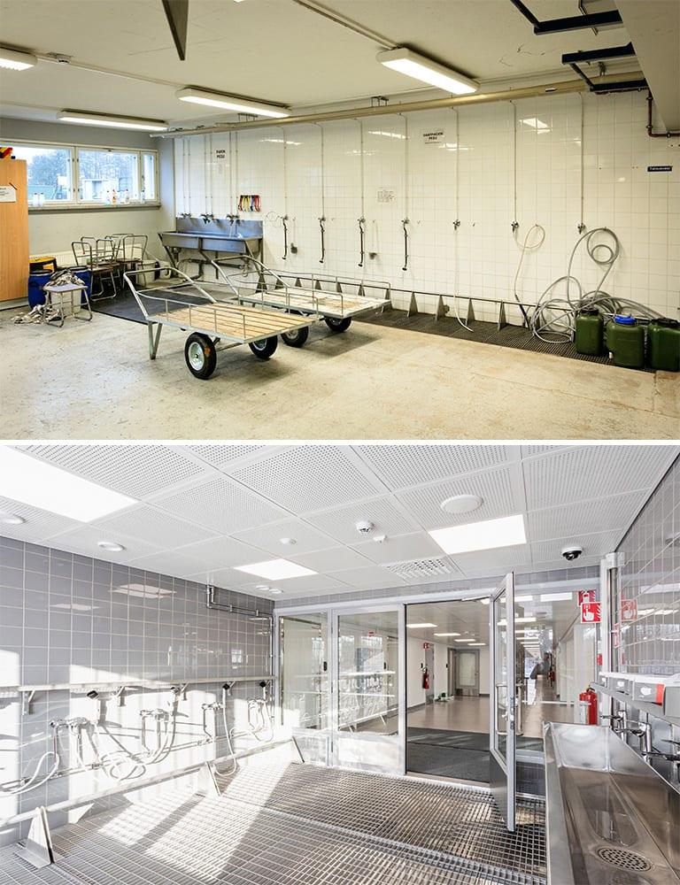 Ennen ja jälkeen kuvat Upinniemen pesutilasta.