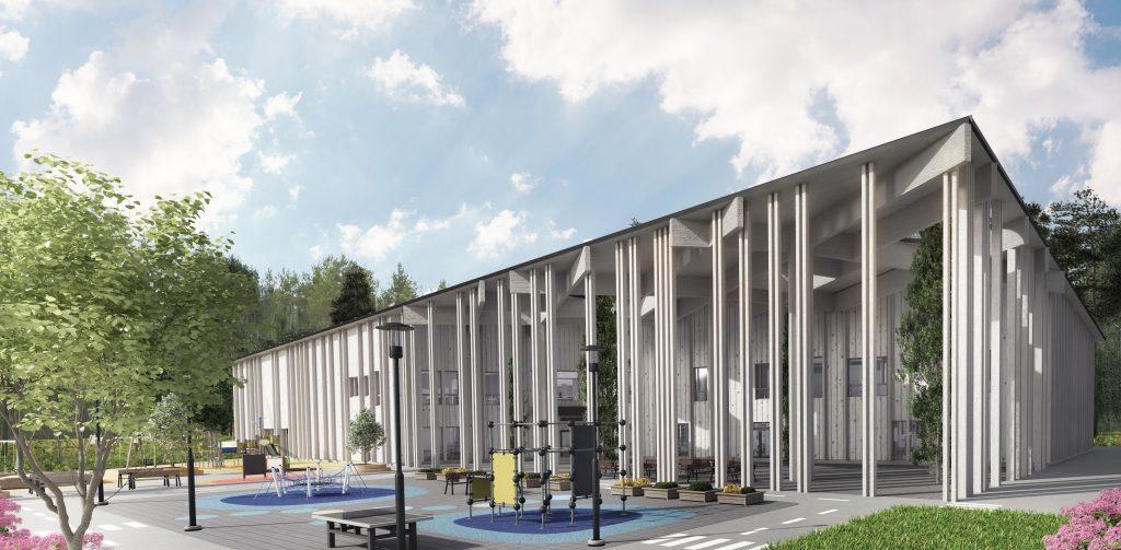 Havainnekuva valmiista koulurakennuksesta. Ulkokuva. Matala rakennus,jonka edustalla on koulunpiha.