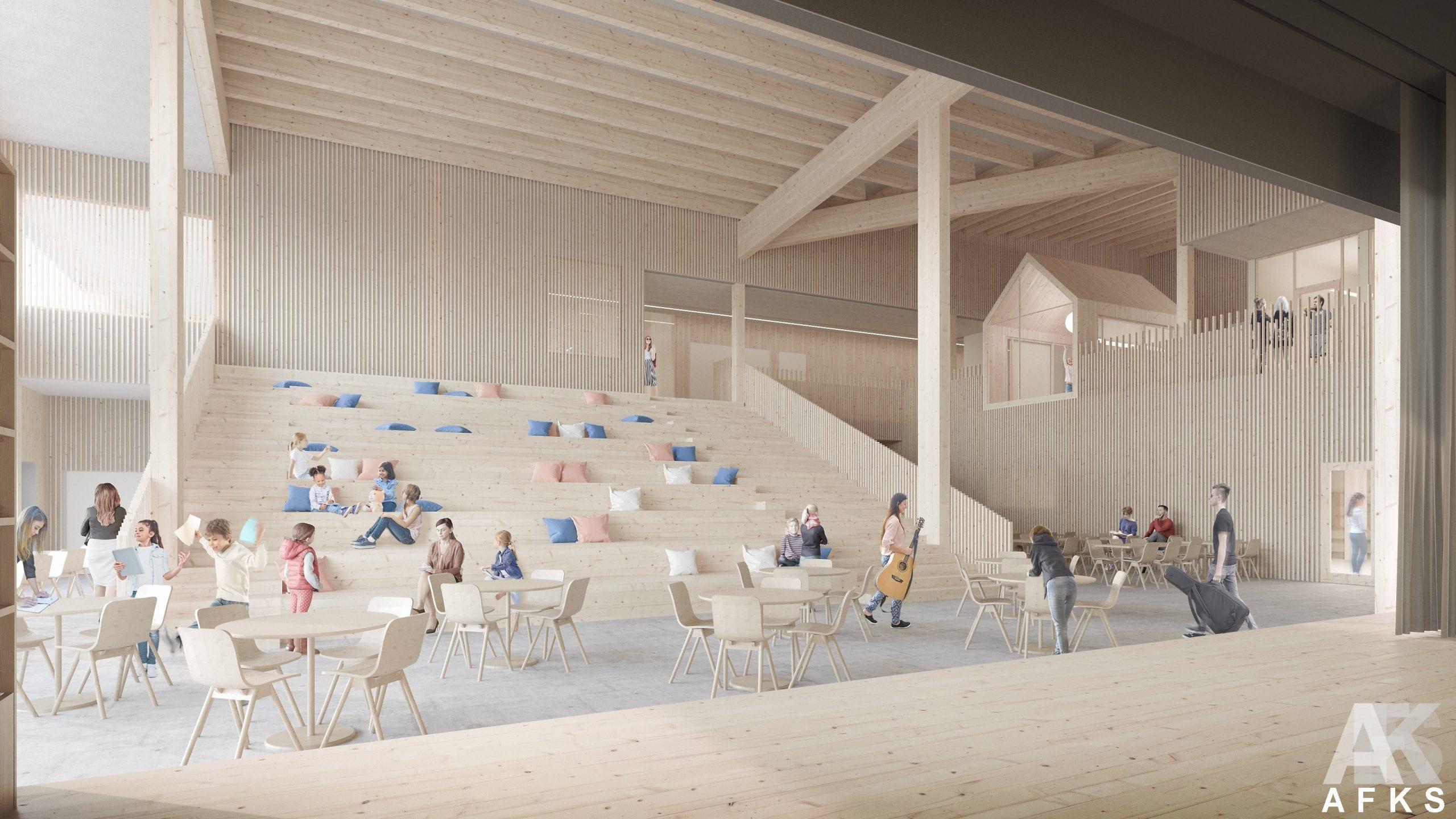 Koulurakennuksen aula, jossa oppilaita.