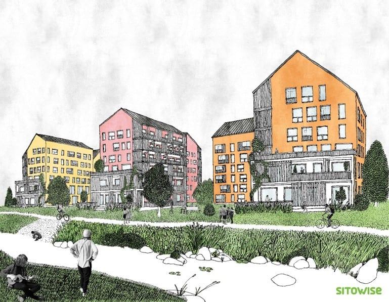 Kauklahden Lasihytin alueen suunnitelman kuva. Värikkäitä taloja joenrannan varressa.